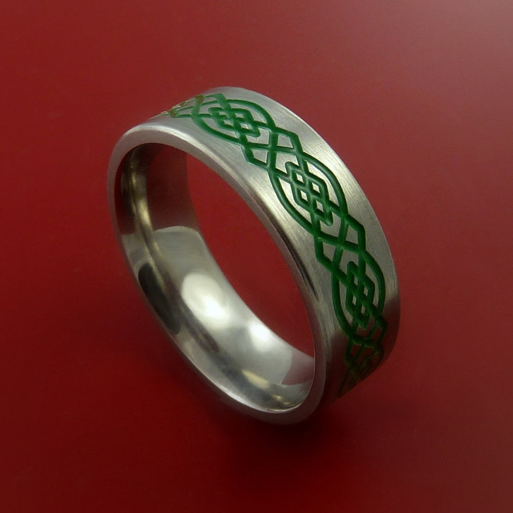 Titanium Celtic Band Infinity Design Ring Any Size 3 to 22 Green, Red, Blue Inlay by Stonebrook Jewelry