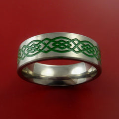 Titanium Celtic Band Infinity Design Ring Any Size 3 to 22 Green, Red, Blue Inlay - Stonebrook Jewelry  - 3