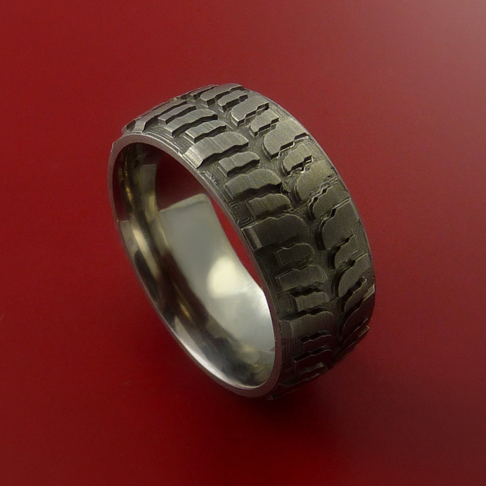 Titanium Ring with Mud Tire Tread Pattern Inlay Custom Made Band