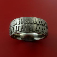 Titanium Carved Tread Design Ring Bold Unique Band Custom Made to Any Sizing 4-22 - Stonebrook Jewelry  - 2
