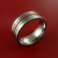 Titanium Band Custom Color Design Ring Any Size Band 3 to 22 Red, Blue, Green, Inlay - Stonebrook Jewelry  - 2