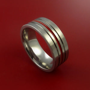 Titanium Band Custom Color Design Ring Any Size Band 3 to 22 Red, Blue, Green, Inlay