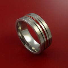 Titanium Band Custom Color Design Ring Any Size Band 3 to 22 Red, Blue, Green, Inlay by Stonebrook Jewelry