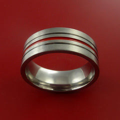 Titanium Band Custom Color Design Ring Any Size Band 3 to 22 Red, Blue, Green, Inlay - Stonebrook Jewelry  - 3