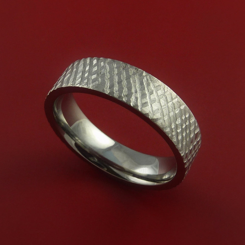 Titanium Reptile Skin Finish Band Unique Rings Modern Made to Any Sizing 3-22 by Stonebrook Jewelry