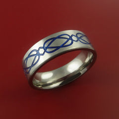 Titanium Celtic Band Infinity Design Ring Any Size 3 to 22 Blue, Red, Green Inlay - Stonebrook Jewelry  - 2