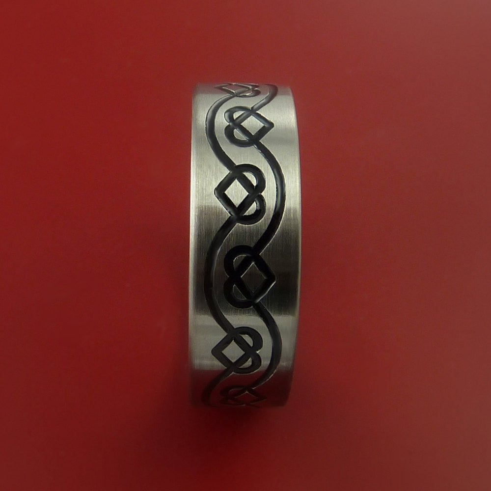 Titanium Celtic Band Infinity Heart Design Ring Any Size 3 to 22 Blue, Green, Red Inlay - Stonebrook Jewelry  - 4