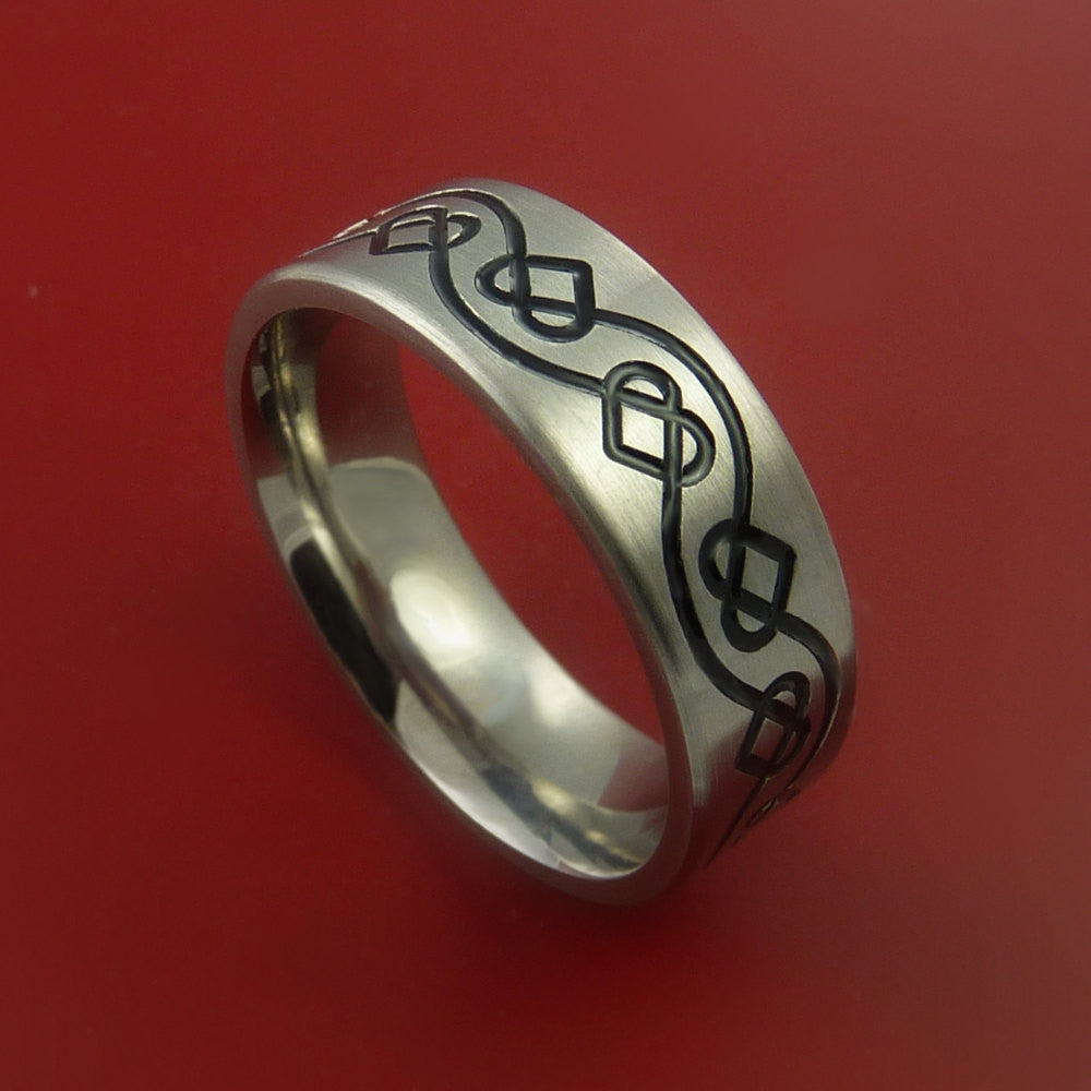 Titanium Celtic Band Infinity Heart Design Ring Any Size 3 to 22 Blue, Green, Red Inlay by Stonebrook Jewelry
