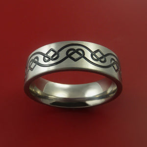 Titanium Celtic Band Infinity Heart Design Ring Any Size 3 to 22 Blue, Green, Red Inlay