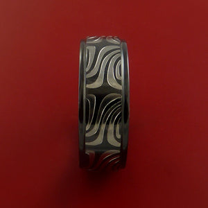 Black Zirconium Ring Textured Carved Pattern Band Made to Any Sizing 3-22