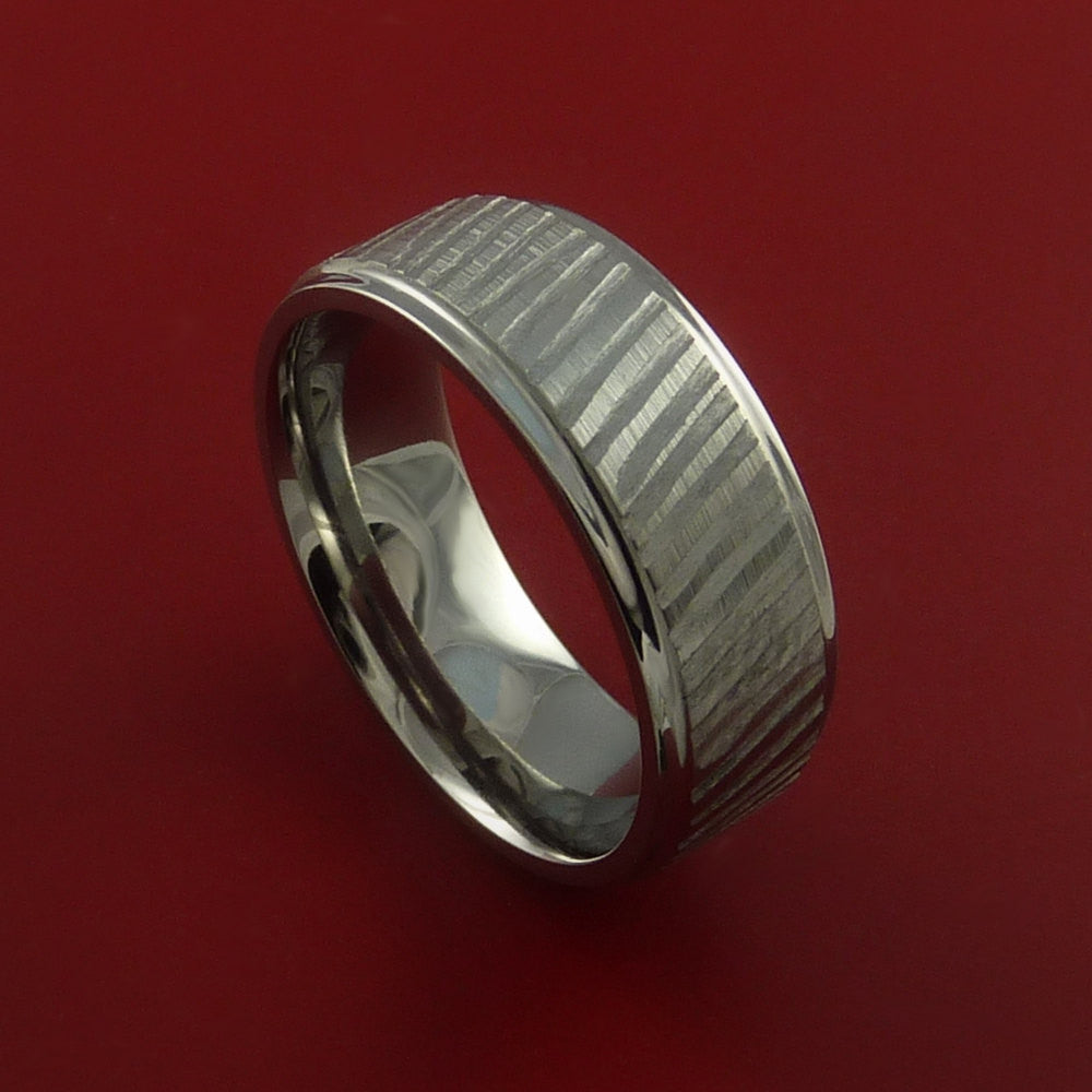 Titanium Rifling Carved Band Custom Ring Made to Any Sizing and Finish 3-22 - Stonebrook Jewelry  - 1