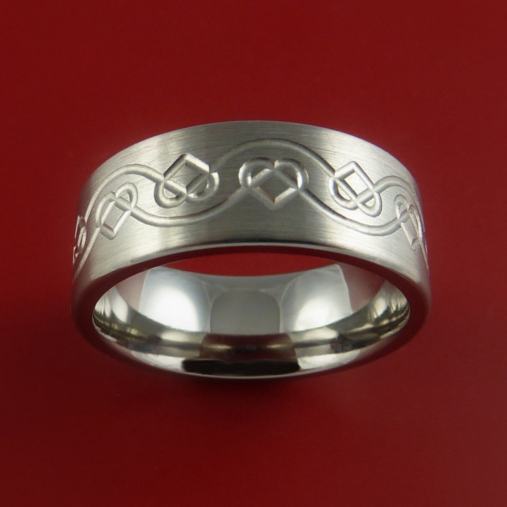 Titanium Celtic Heart Band Any Size Ring 3 to 22 Color Inlay - Stonebrook Jewelry  - 2