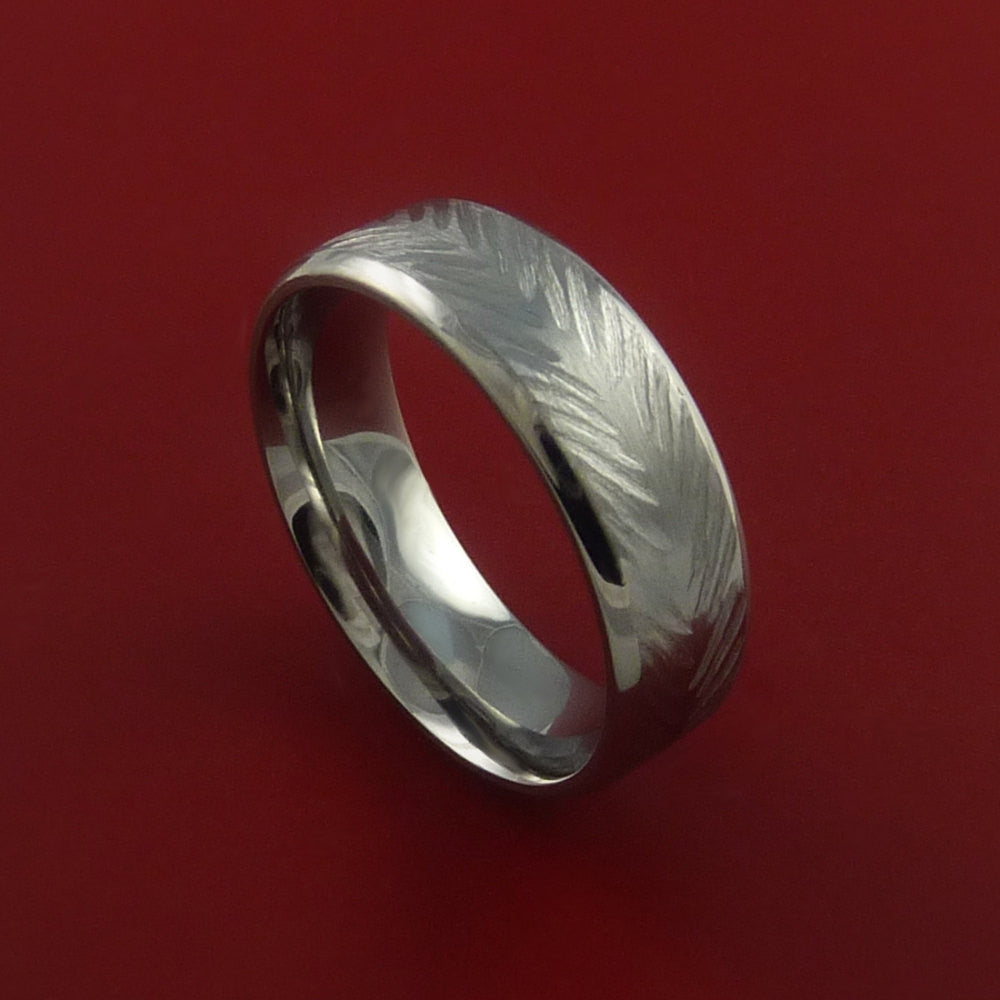 Titanium Feather Carved Band Custom Rings Made to Any Sizing and Finish 3-22 by Stonebrook Jewelry