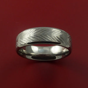 Titanium Feather Carved Band Custom Rings Made to Any Sizing and Finish 3-22