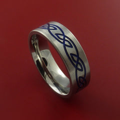 Titanium Celtic Knot Band Design Any Size Ring 3 to 22 Blue, Red, Green Inlay by Stonebrook Jewelry