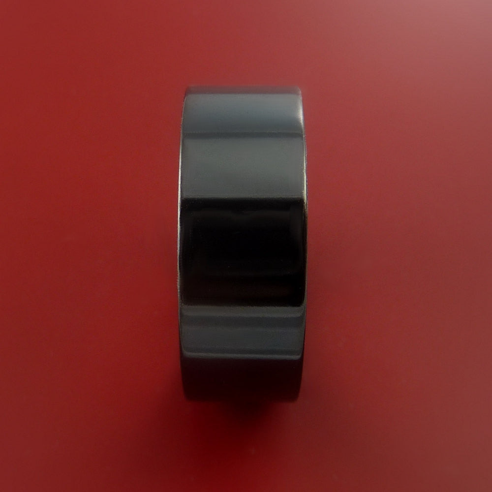 Black Zirconium Ring Traditional Style Band Made to Any Sizing and Finish 3-22