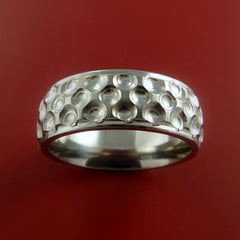 Titanium Golf Ball Ring Textured Dimple Pattern Band Made to Any Sizing and Finish 4-22 - Stonebrook Jewelry  - 2