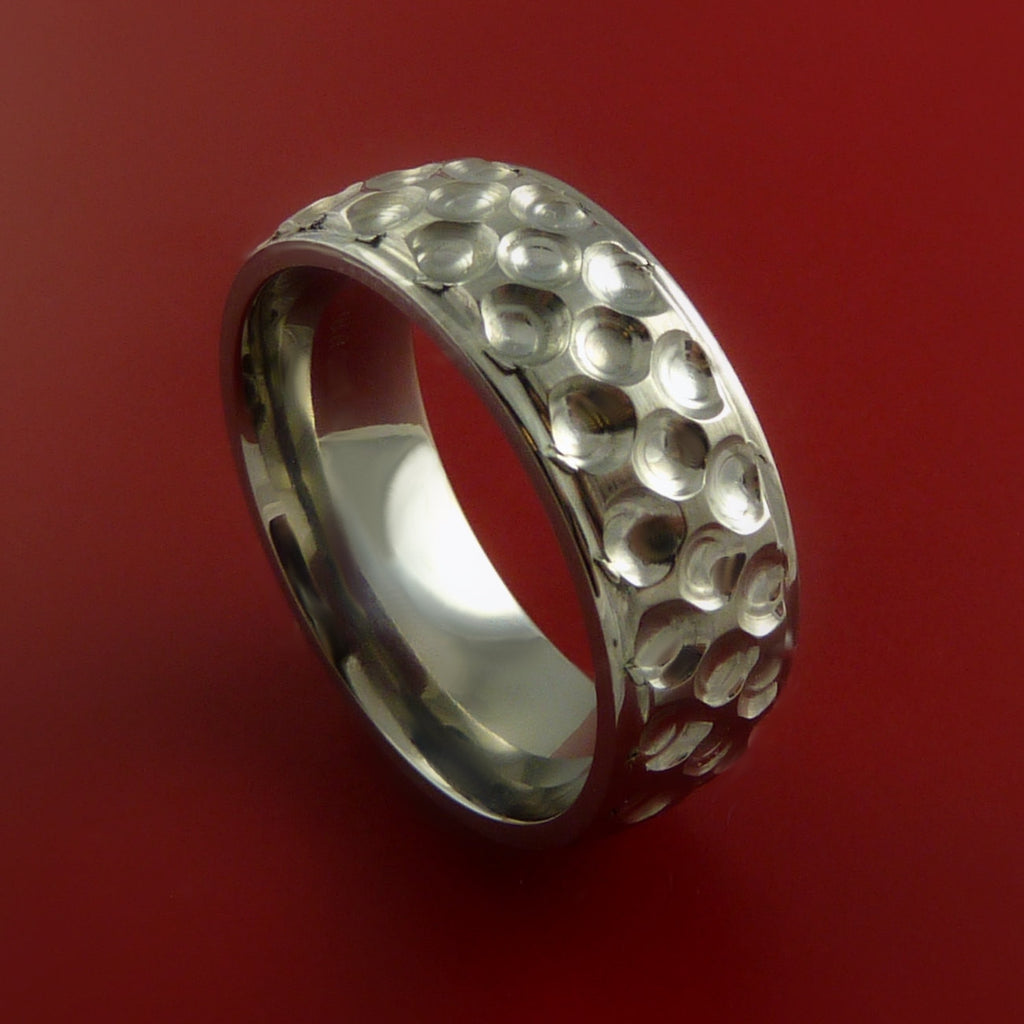 Titanium Golf Ball Ring Textured Dimple Pattern Band Made to Any Sizing and Finish 4-22 by Stonebrook Jewelry