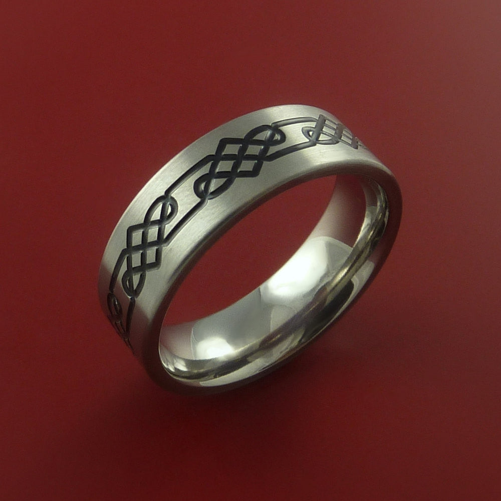 Titanium Celtic Band Infinity Design Ring Any Size 3 to 22 Red, Green, Blue Inlay