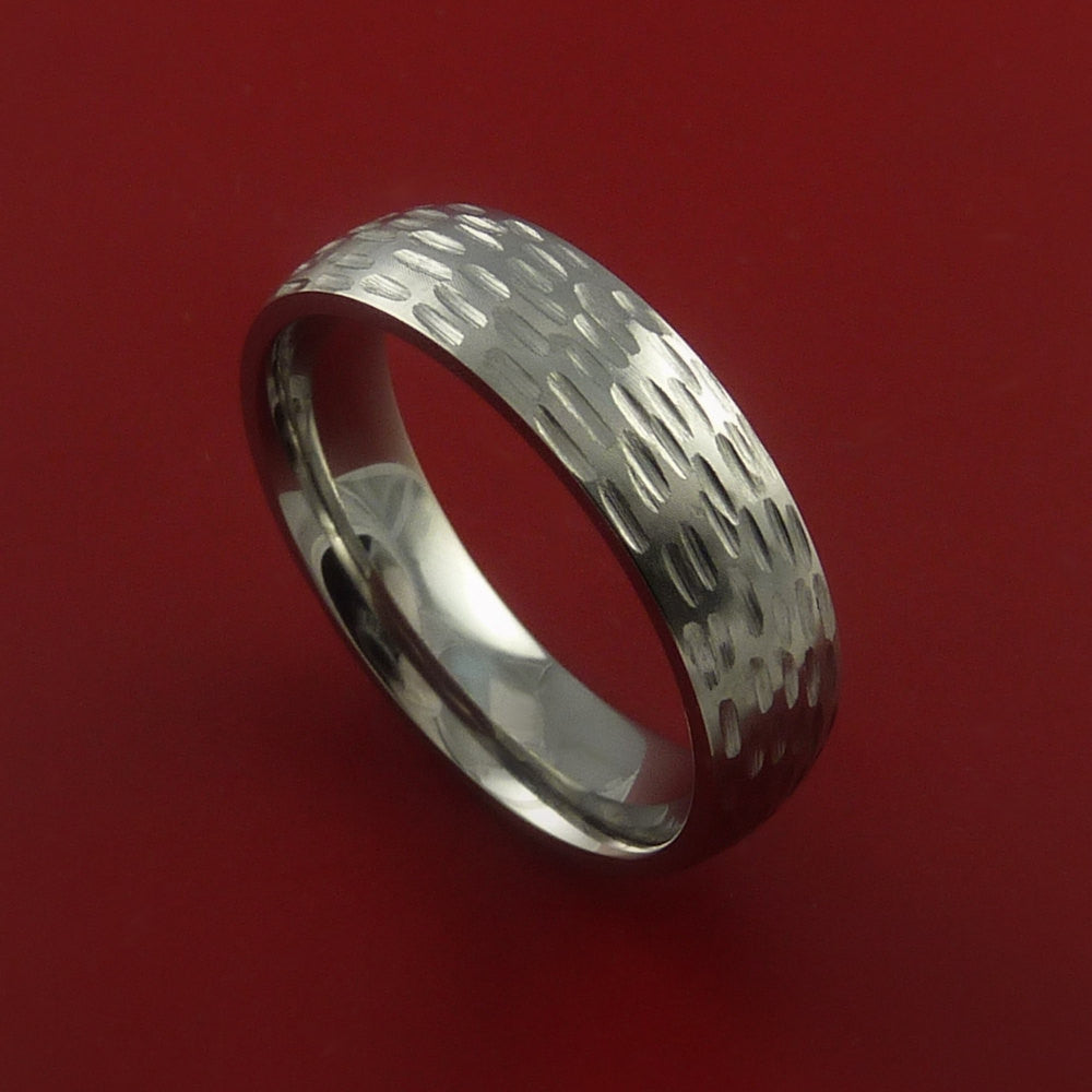 Titanium Textured Wedding Band Engagement Ring Made to Any Sizing and Finish 3-22