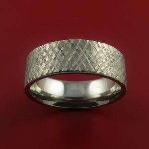 Titanium Reptile Skin Finish Band Unique Rings Modern Made to Any Sizing 3-22
