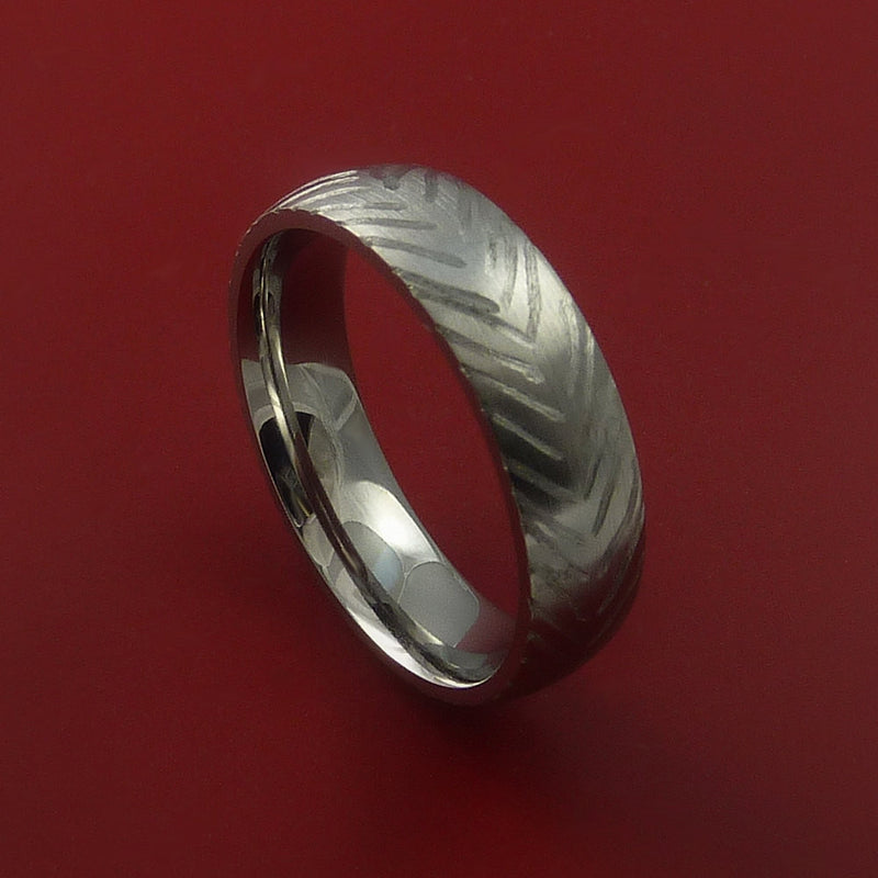 Titanium Feather Carved Band Custom Ring Made to Any Sizing and Finish 3-22
