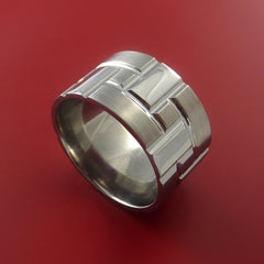 Titanium Brick Design Ring Extra Wide Unique Band Custom Made - Stonebrook Jewelry  - 1