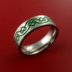 Titanium Celtic Band Infinity Design Ring Any Size 3 to 22 Green, Red, Blue Inlay - Stonebrook Jewelry  - 4