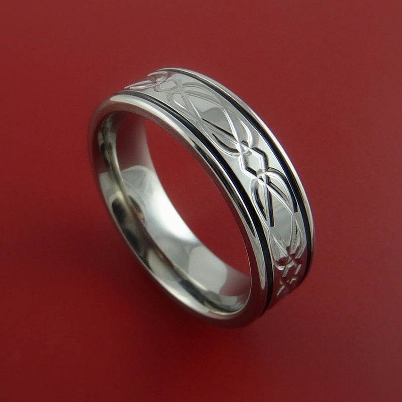 Titanium Ring with Milled Celtic Design and Cerakote Inlays Custom Made Band