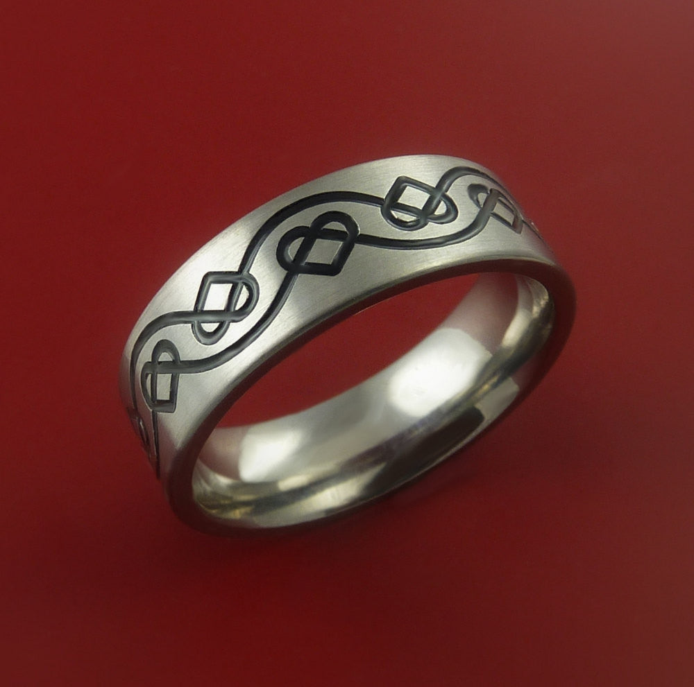 Titanium Celtic Band Infinity Heart Design Ring Any Size 3 to 22 Blue, Green, Red Inlay - Stonebrook Jewelry  - 3
