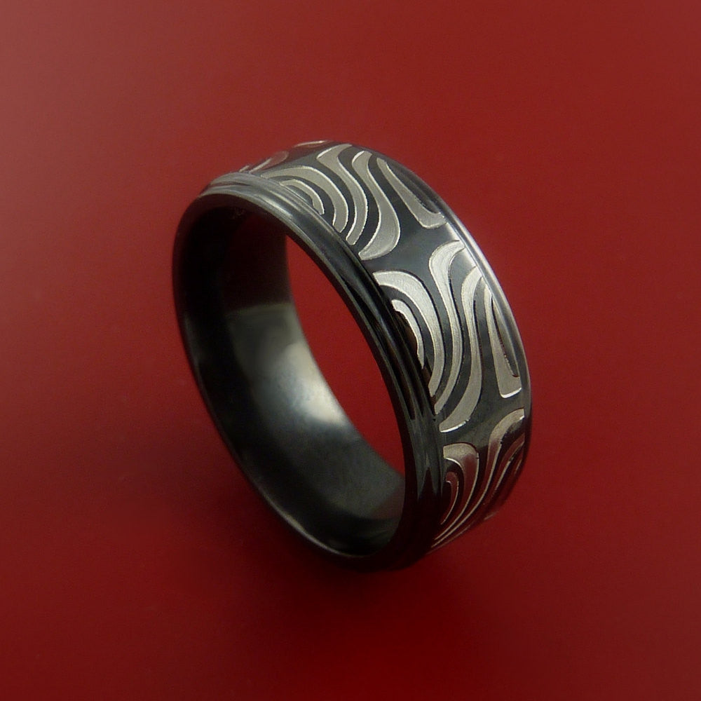 Black Zirconium Ring Textured Mokume Carved Pattern Band Made to Any Sizing 3-22 by Stonebrook Jewelry