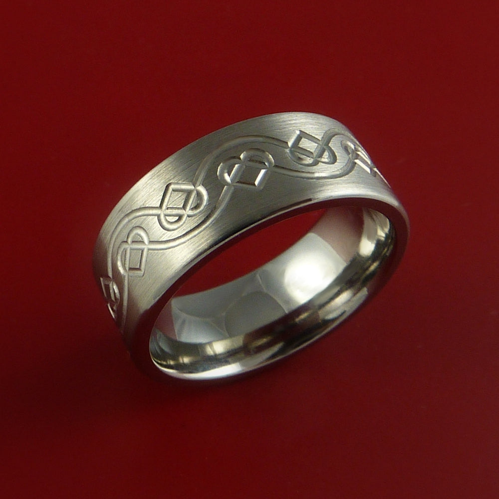 Titanium Celtic Heart Band Any Size Ring 3 to 22 Color Inlay - Stonebrook Jewelry  - 3