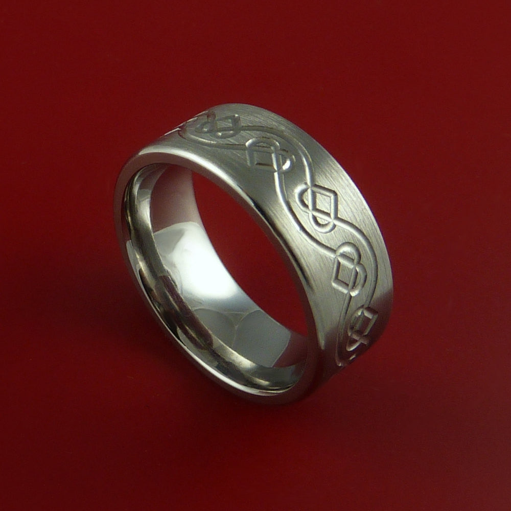 Titanium Celtic Heart Band Any Size Ring 3 to 22 Color Inlay by Stonebrook Jewelry