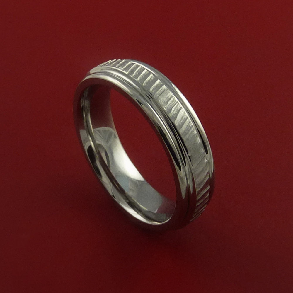 Titanium Rifling Carved Band Custom Rings Made to Any Sizing and Finish 3-22 by Stonebrook Jewelry
