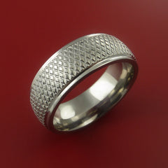 Titanium Wide Ring Textured Knurl Pattern Band Made to Any Sizing and Finish 3-22 - Stonebrook Jewelry  - 2