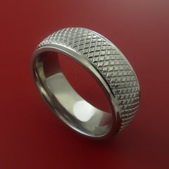 Titanium Wide Ring Textured Knurl Pattern Band Made to Any Sizing and Finish 3-22 by Stonebrook Jewelry
