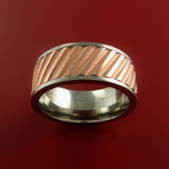 Copper Inlay Spinner Unique Titanium Band Custom Made to order Sizing 5-18 - Stonebrook Jewelry  - 2