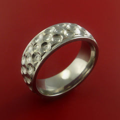 Titanium Golf Ball Ring Textured Dimple Pattern Band Made to Any Sizing and Finish 4-22 - Stonebrook Jewelry  - 4