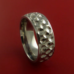 Titanium Golf Ball Ring Textured Dimple Pattern Band Made to Any Sizing and Finish 4-22 - Stonebrook Jewelry  - 5