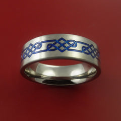 Titanium Celtic Band Infinity Design Ring Any Size 3 to 22 Blue, Red. Green Inlay by Stonebrook Jewelry