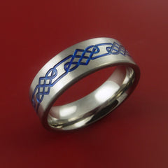 Titanium Celtic Band Infinity Design Ring Any Size 3 to 22 Blue, Red. Green Inlay - Stonebrook Jewelry  - 2