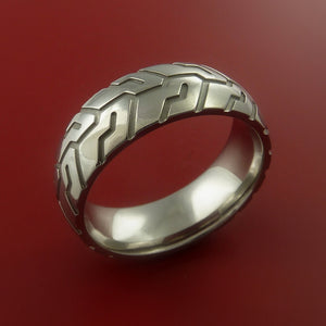 Titanium Ring with Cycle Tire Tread Pattern Inlay Custom Made Band