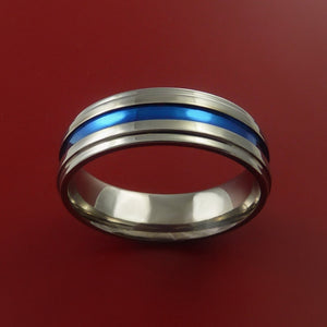 Titanium Ring with Anodized Inlay Custom Made Band