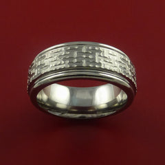 Titanium Ring Basket Weave Textured Band Made to Any Sizing and Finish 3-22 - Stonebrook Jewelry  - 3