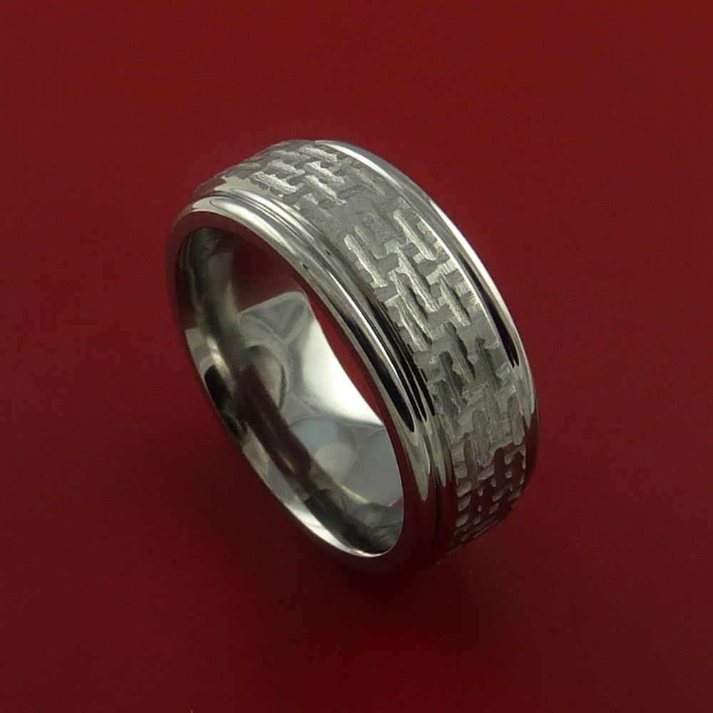 Titanium Ring Basket Weave Textured Band Made to Any Sizing and Finish 3-22