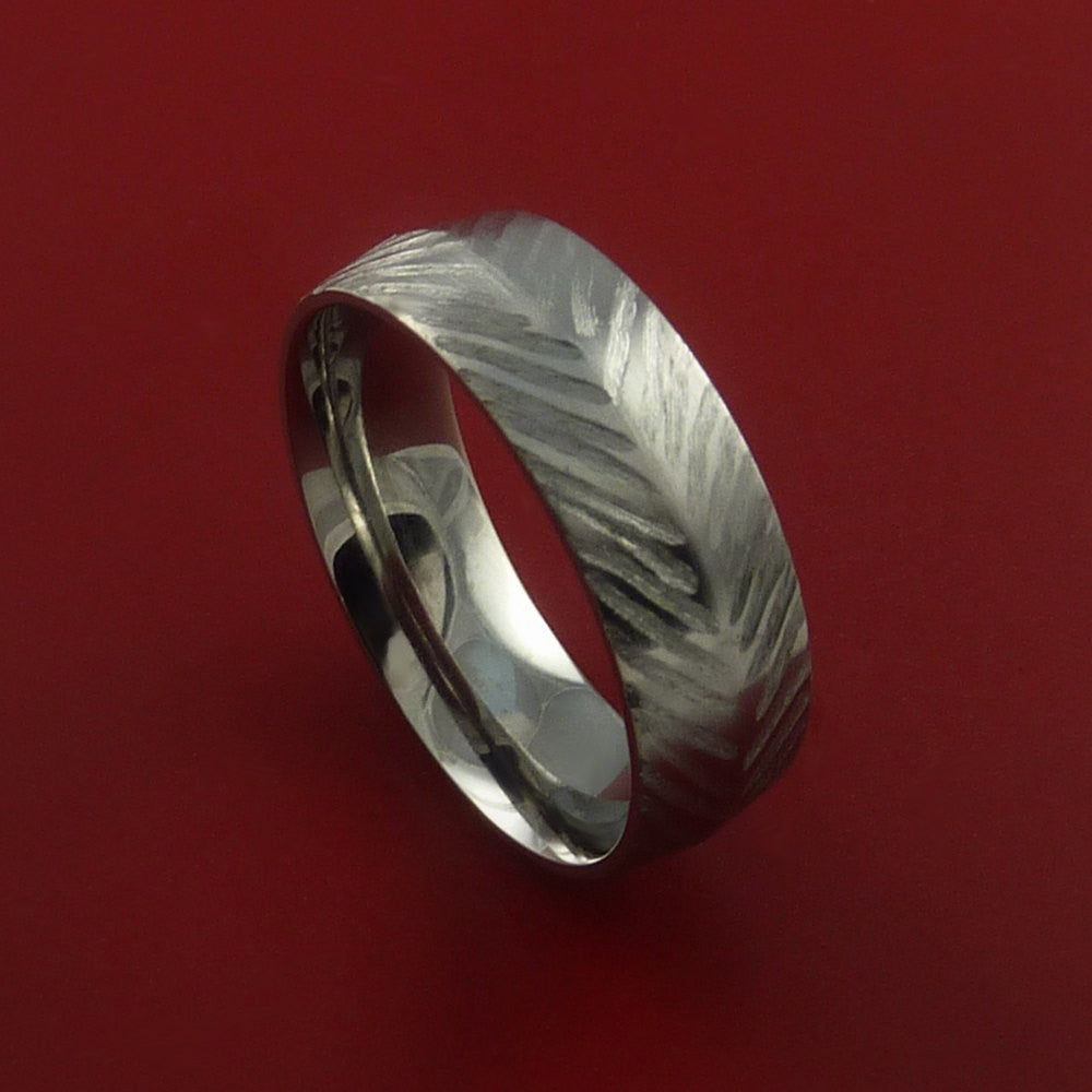 Titanium Feather Carved Band Custom Rings Made to Any Size by Stonebrook Jewelry