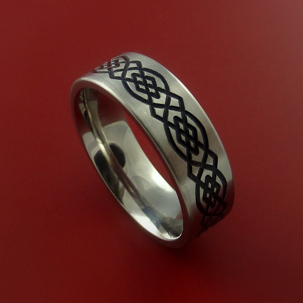 Titanium Celtic Band Infinity Design Ring Any Size 3 to 22 Red, Green, Blue Inlay by Stonebrook Jewelry