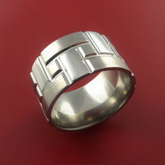 Titanium Brick Design Ring Extra Wide Unique Band Custom Made - Stonebrook Jewelry  - 2