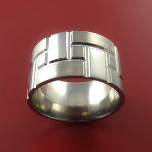 Titanium Brick Design Ring Extra Wide Unique Band Custom Made