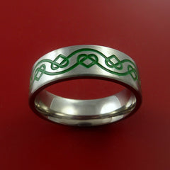Titanium Celtic Band Infinity Design Ring Any Size 3 to 22 Green, Red, Blue Inlay - Stonebrook Jewelry  - 2